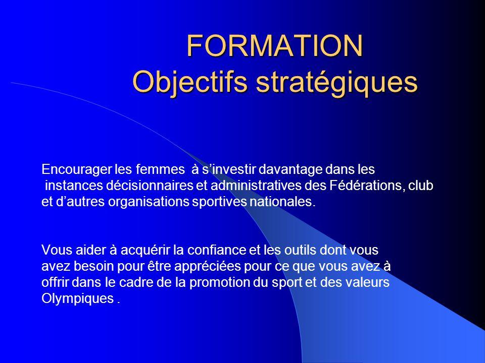 FORMATION Objectifs stratégiques Encourager les femmes à sinvestir davantage dans les instances décisionnaires et administratives des Fédérations, clu