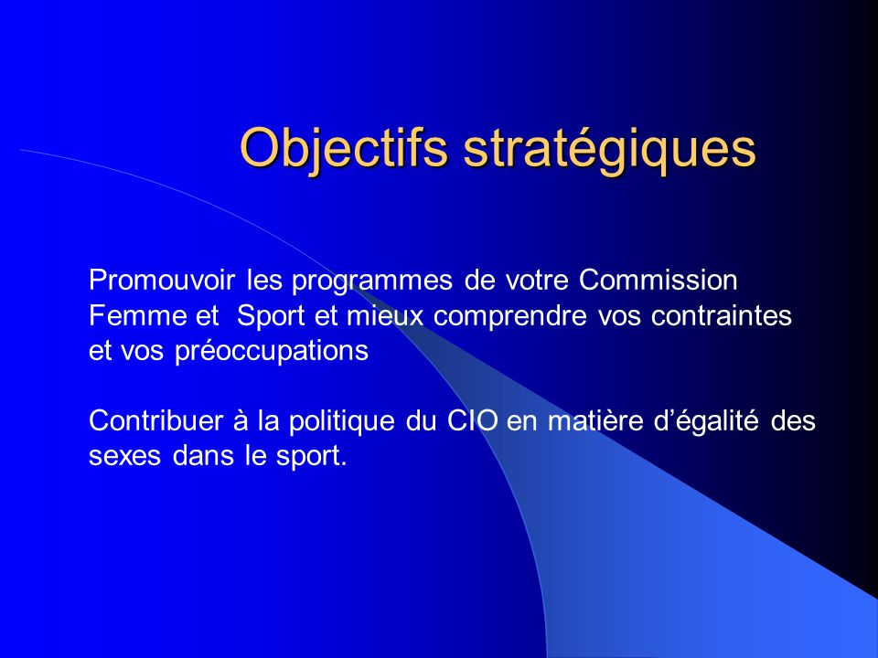 Objectifs stratégiques Promouvoir les programmes de votre Commission Femme et Sport et mieux comprendre vos contraintes et vos préoccupations Contribu