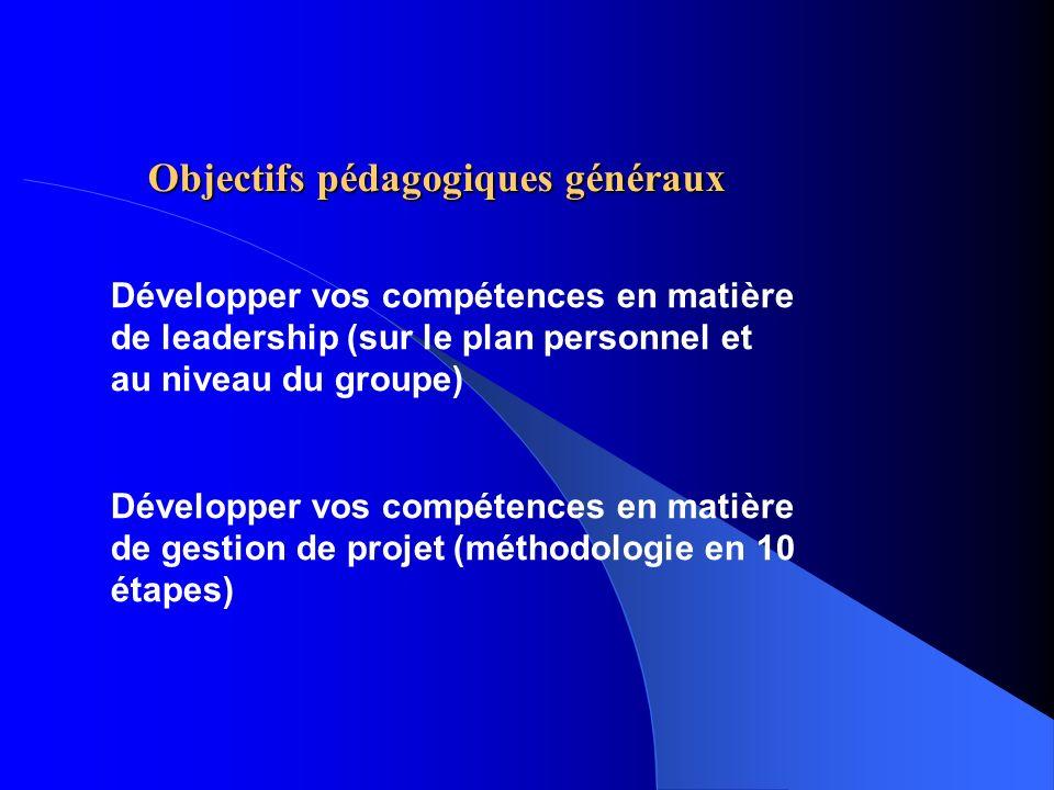 Développer vos compétences en matière de leadership (sur le plan personnel et au niveau du groupe) Développer vos compétences en matière de gestion de