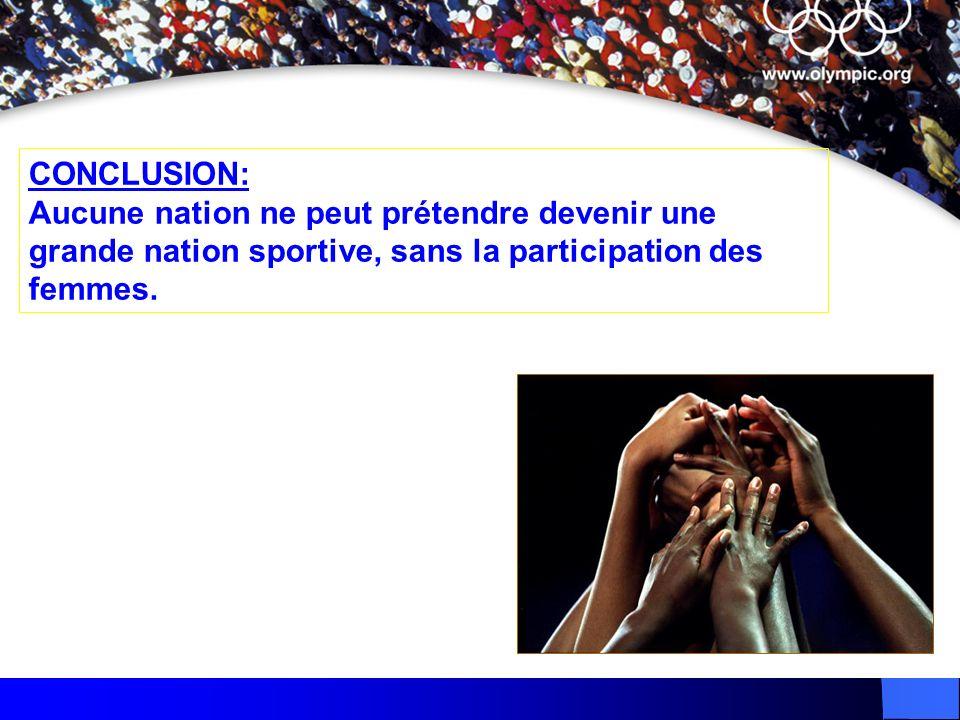 CONCLUSION: Aucune nation ne peut prétendre devenir une grande nation sportive, sans la participation des femmes.