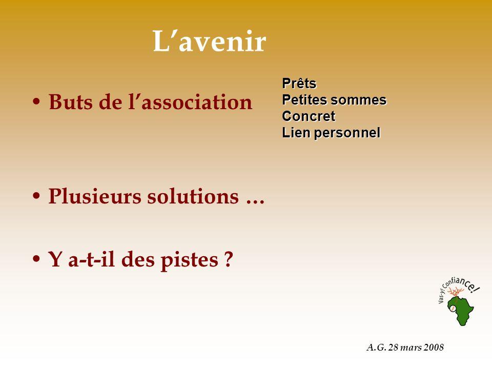 A.G. 28 mars 2008 Lavenir Buts de lassociation Plusieurs solutions … Y a-t-il des pistes .