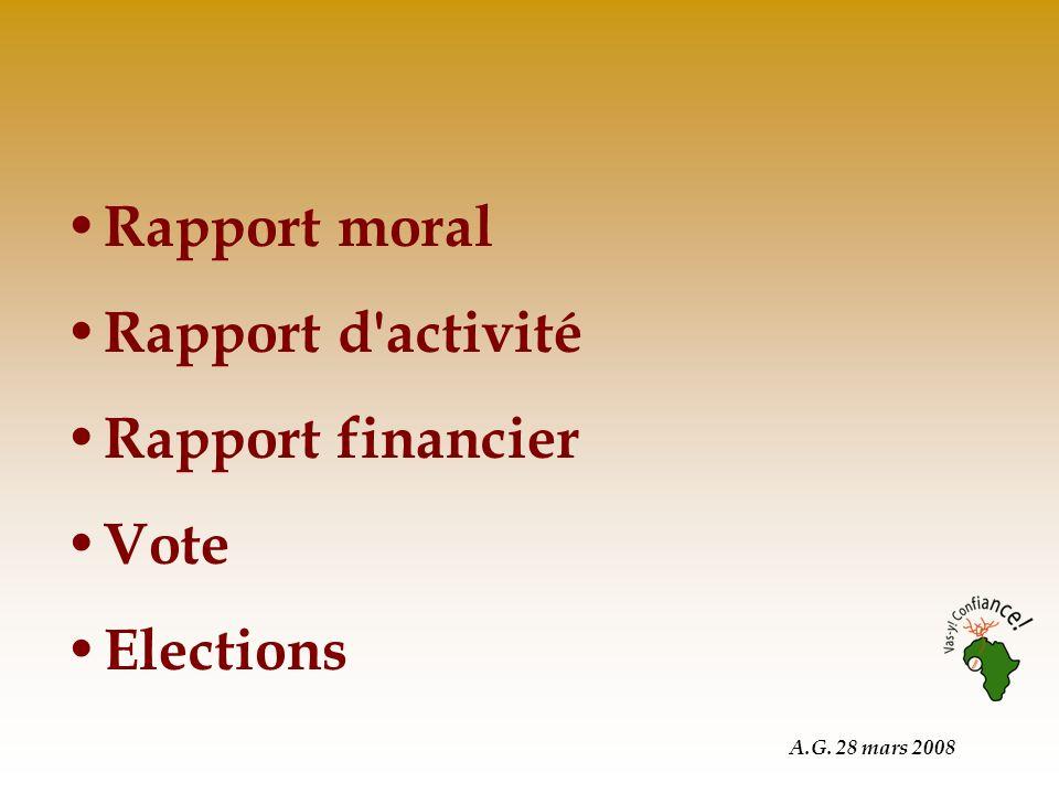 A.G. 28 mars 2008 Rapport moral Rapport d activité Rapport financier Vote Elections