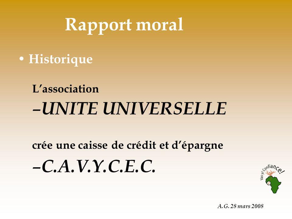 A.G. 28 mars 2008 Rapport moral Historique Lassociation – UNITE UNIVERSELLE crée une caisse de crédit et dépargne – C.A.V.Y.C.E.C.