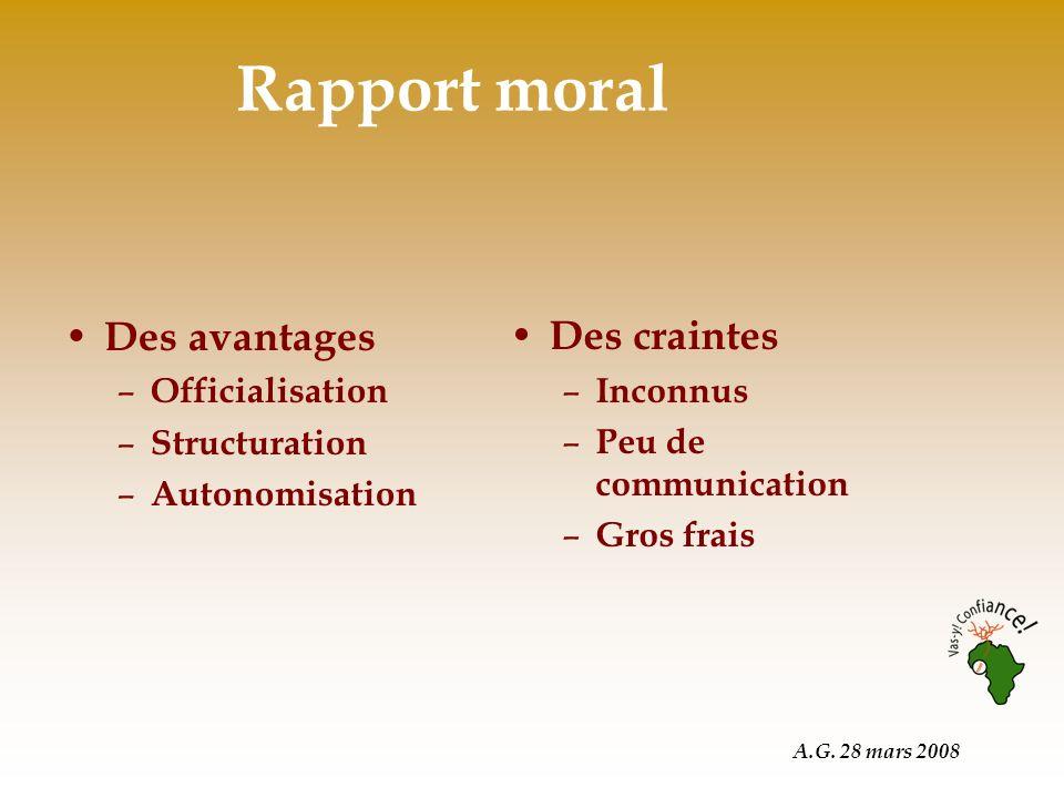A.G. 28 mars 2008 Rapport moral Des avantages – Officialisation – Structuration – Autonomisation Des craintes – Inconnus – Peu de communication – Gros