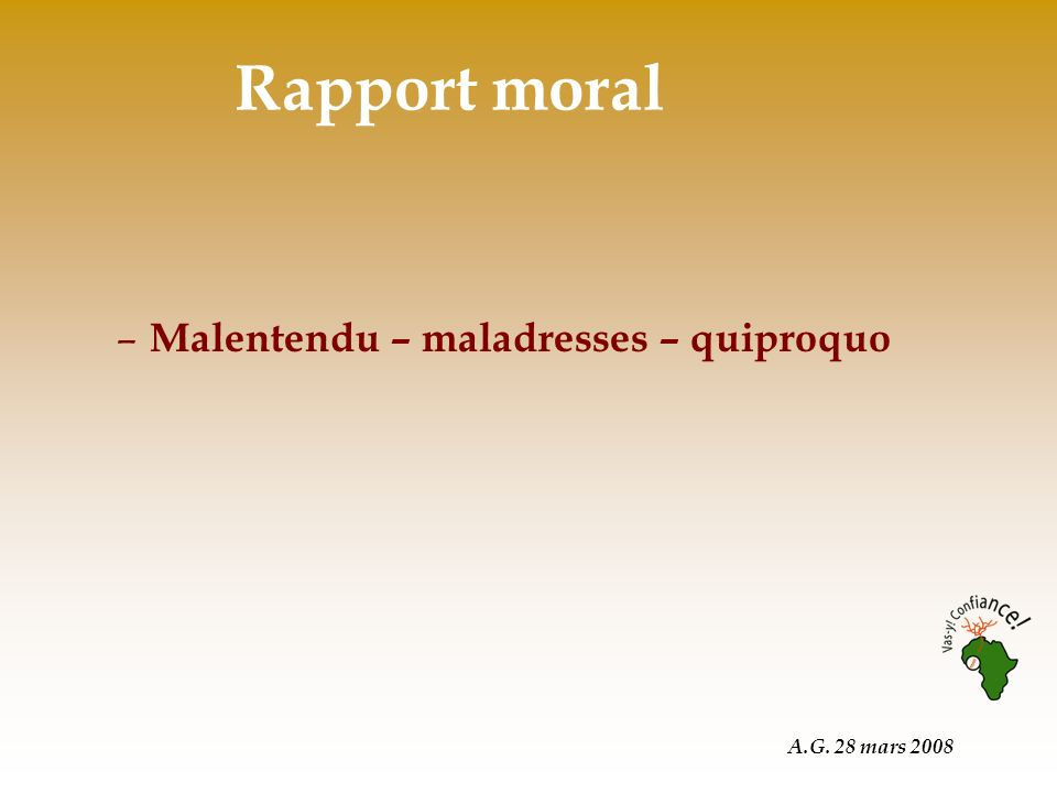 A.G. 28 mars 2008 Rapport moral – Malentendu – maladresses – quiproquo