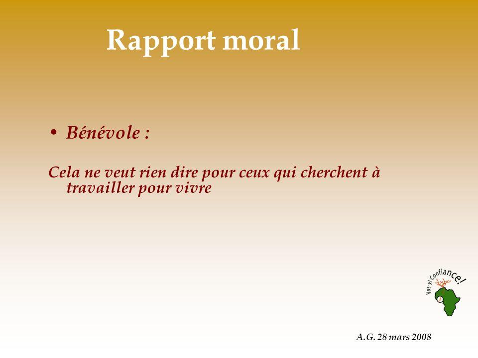 A.G. 28 mars 2008 Bénévole : Cela ne veut rien dire pour ceux qui cherchent à travailler pour vivre Rapport moral
