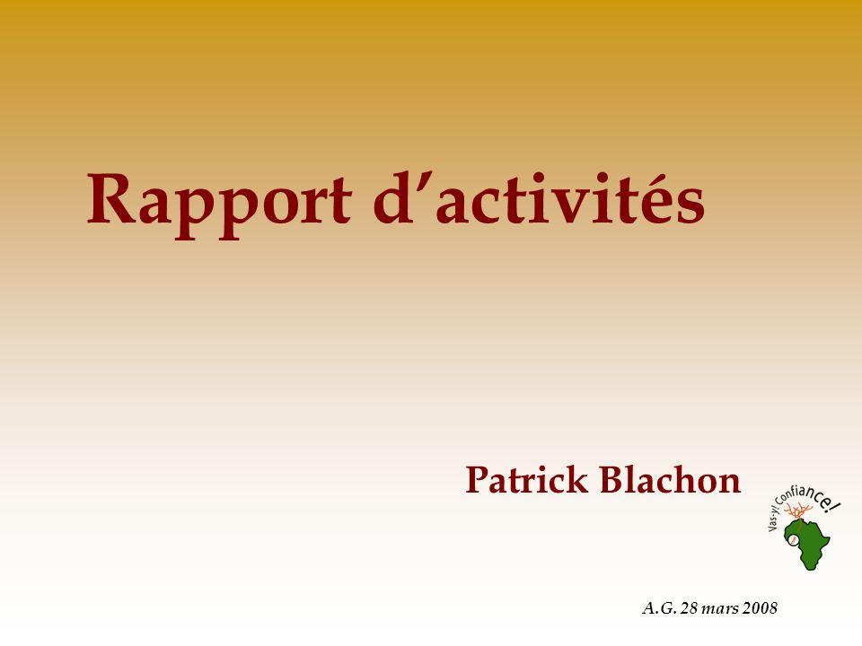 A.G. 28 mars 2008 Rapport dactivités Patrick Blachon