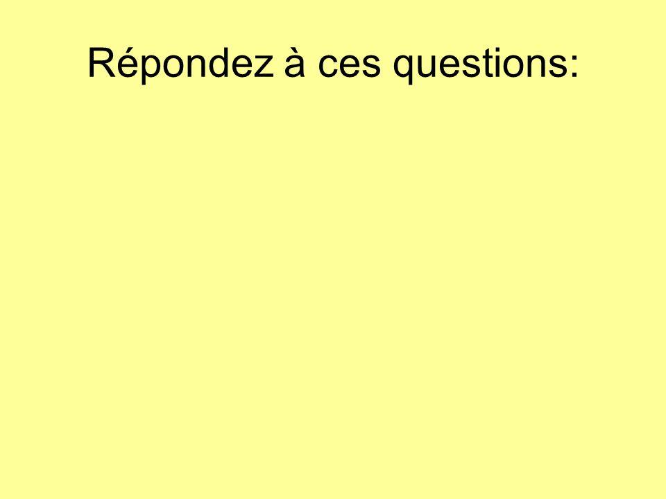 Répondez à ces questions: