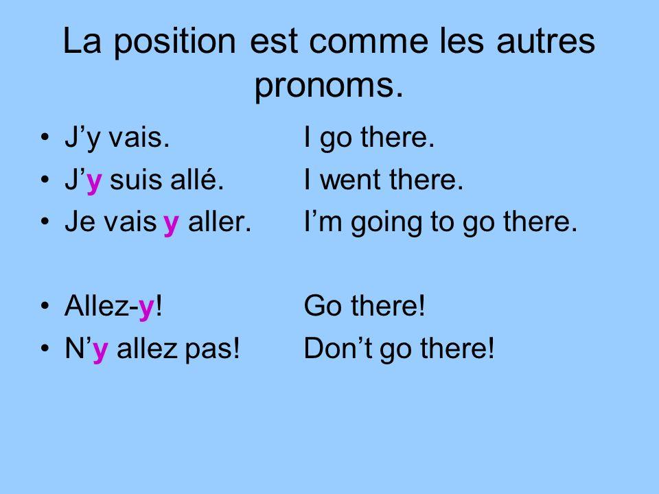 La position est comme les autres pronoms. Jy vais.I go there.