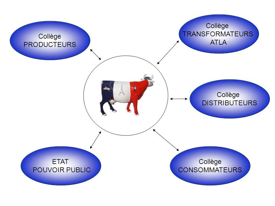 Collège TRANSFORMATEURS ATLA Collège DISTRIBUTEURS Collège CONSOMMATEURS ETAT POUVOIR PUBLIC Collège PRODUCTEURS