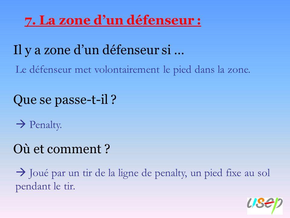 7. La zone dun défenseur : Il y a zone dun défenseur si … Que se passe-t-il ? Où et comment ? Le défenseur met volontairement le pied dans la zone. Pe