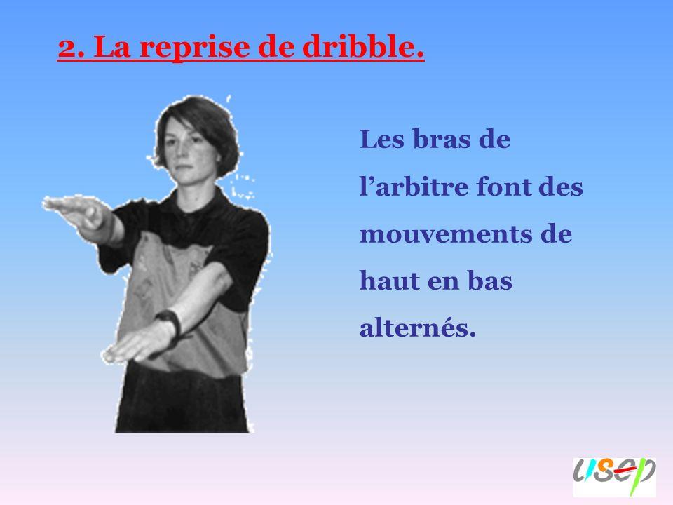 2. La reprise de dribble. Les bras de larbitre font des mouvements de haut en bas alternés.