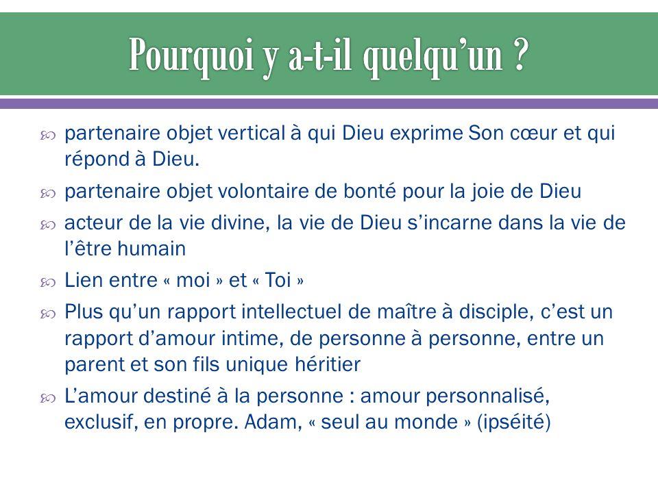 partenaire objet vertical à qui Dieu exprime Son cœur et qui répond à Dieu.