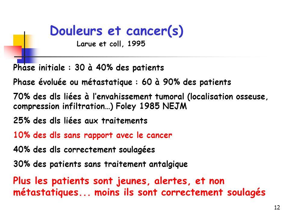 12 Douleurs et cancer(s) Phase initiale : 30 à 40% des patients Phase évoluée ou métastatique : 60 à 90% des patients 70% des dls liées à lenvahisseme