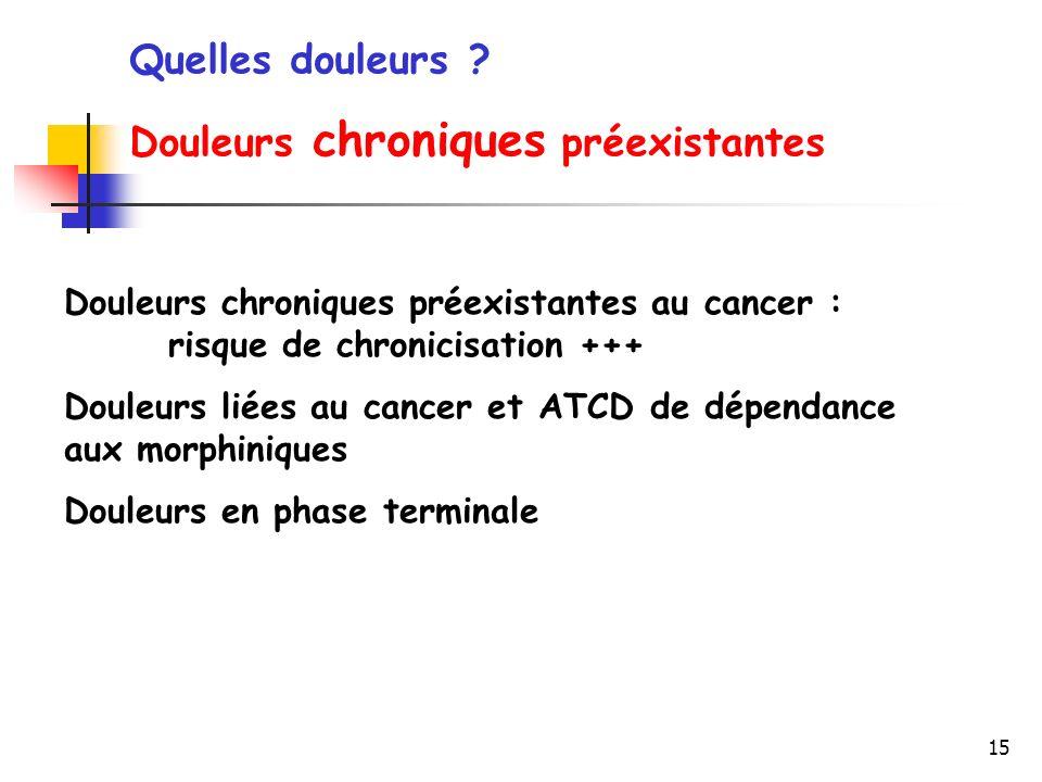 15 Douleurs chroniques préexistantes au cancer : risque de chronicisation +++ Douleurs liées au cancer et ATCD de dépendance aux morphiniques Douleurs