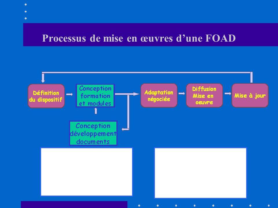 Processus de mise en œuvres dune FOAD Sa fonction : Garant du bon déroulement du projet, de la tenue des objectifs en fonction des contraintes de coût