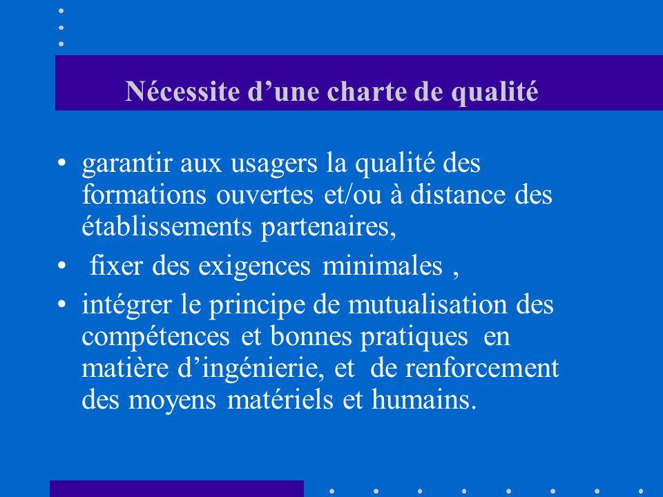 Nécessite dune charte de qualité garantir aux usagers la qualité des formations ouvertes et/ou à distance des établissements partenaires, fixer des ex