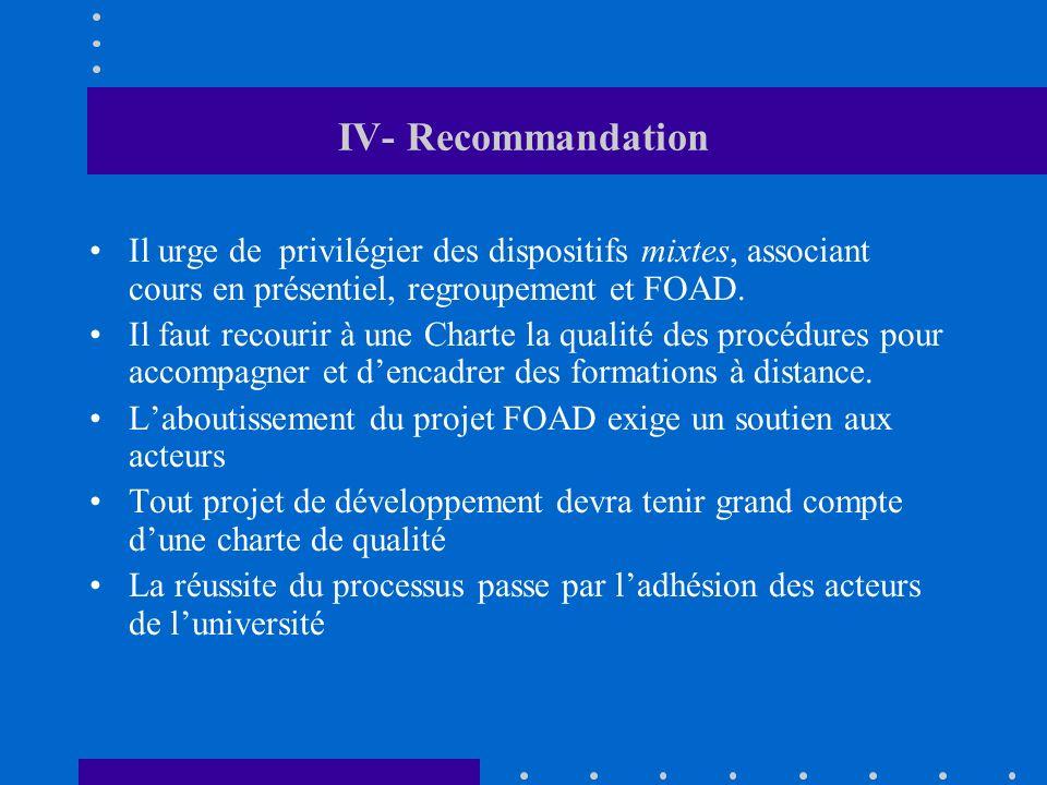 IV- Recommandation Il urge de privilégier des dispositifs mixtes, associant cours en présentiel, regroupement et FOAD. Il faut recourir à une Charte l