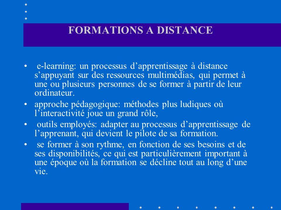 FORMATIONS A DISTANCE e-learning: un processus dapprentissage à distance sappuyant sur des ressources multimédias, qui permet à une ou plusieurs perso