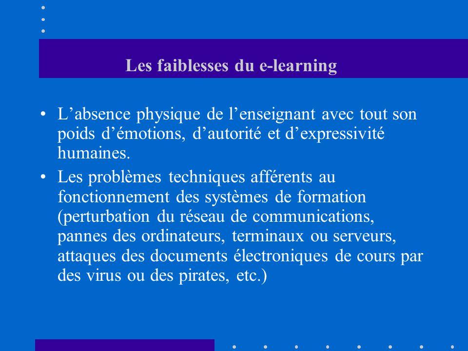 Les faiblesses du e-learning Labsence physique de lenseignant avec tout son poids démotions, dautorité et dexpressivité humaines. Les problèmes techni