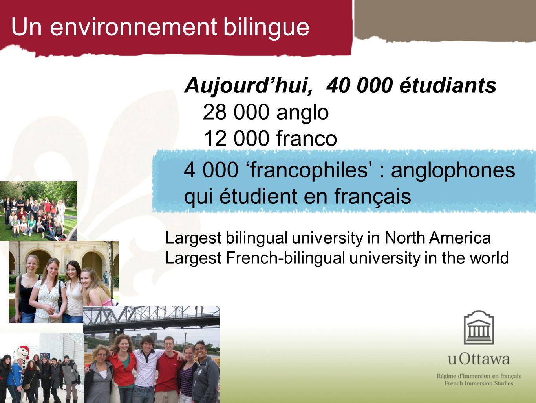 Un environnement bilingue Aujourdhui, 40 000 étudiants 28 000 anglo 12 000 franco 4 000 francophiles : anglophones qui étudient en français Largest bi