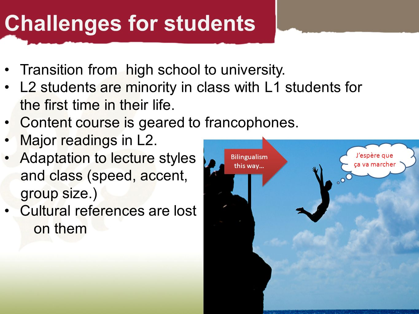 Challenges for students Transition from high school to university. L2 students are minority in class with L1 students for the first time in their life