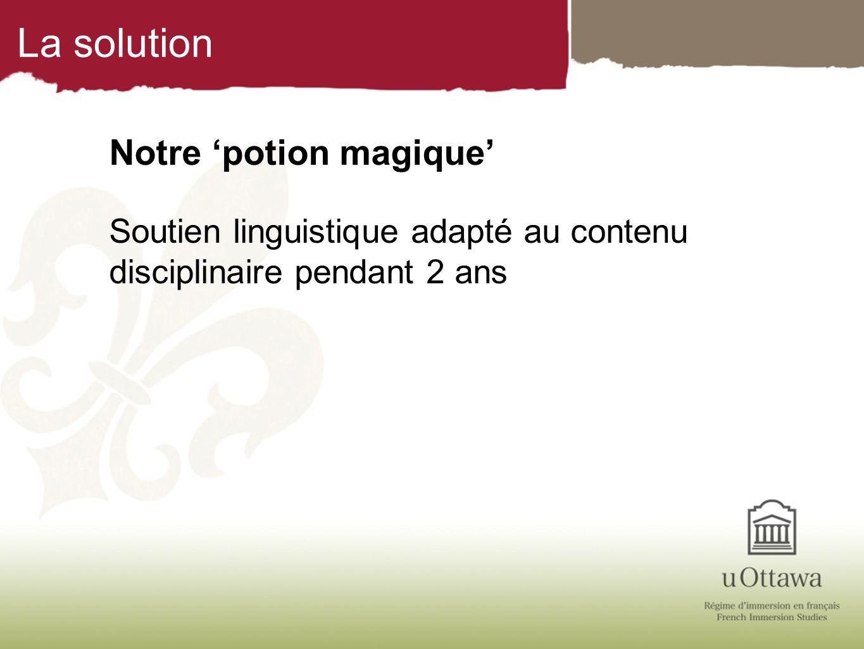 La solution Notre potion magique Soutien linguistique adapté au contenu disciplinaire pendant 2 ans