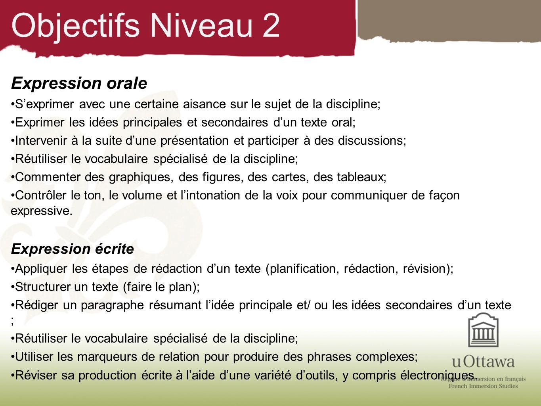 Objectifs Niveau 2 Expression orale Sexprimer avec une certaine aisance sur le sujet de la discipline; Exprimer les idées principales et secondaires d