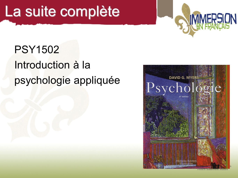 La suite complète PSY1502 Introduction à la psychologie appliquée