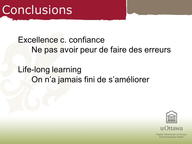 Conclusions Excellence c. confiance Ne pas avoir peur de faire des erreurs Life-long learning On na jamais fini de saméliorer