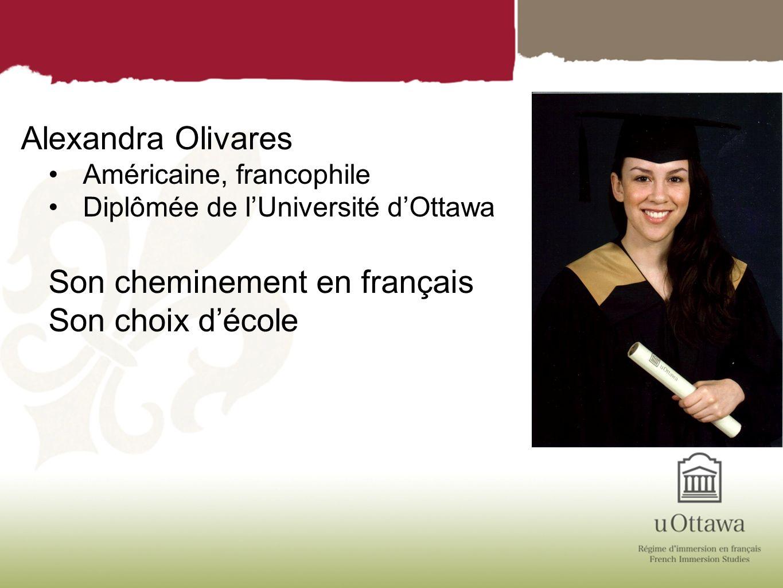 Alexandra Olivares Américaine, francophile Diplômée de lUniversité dOttawa Son cheminement en français Son choix décole