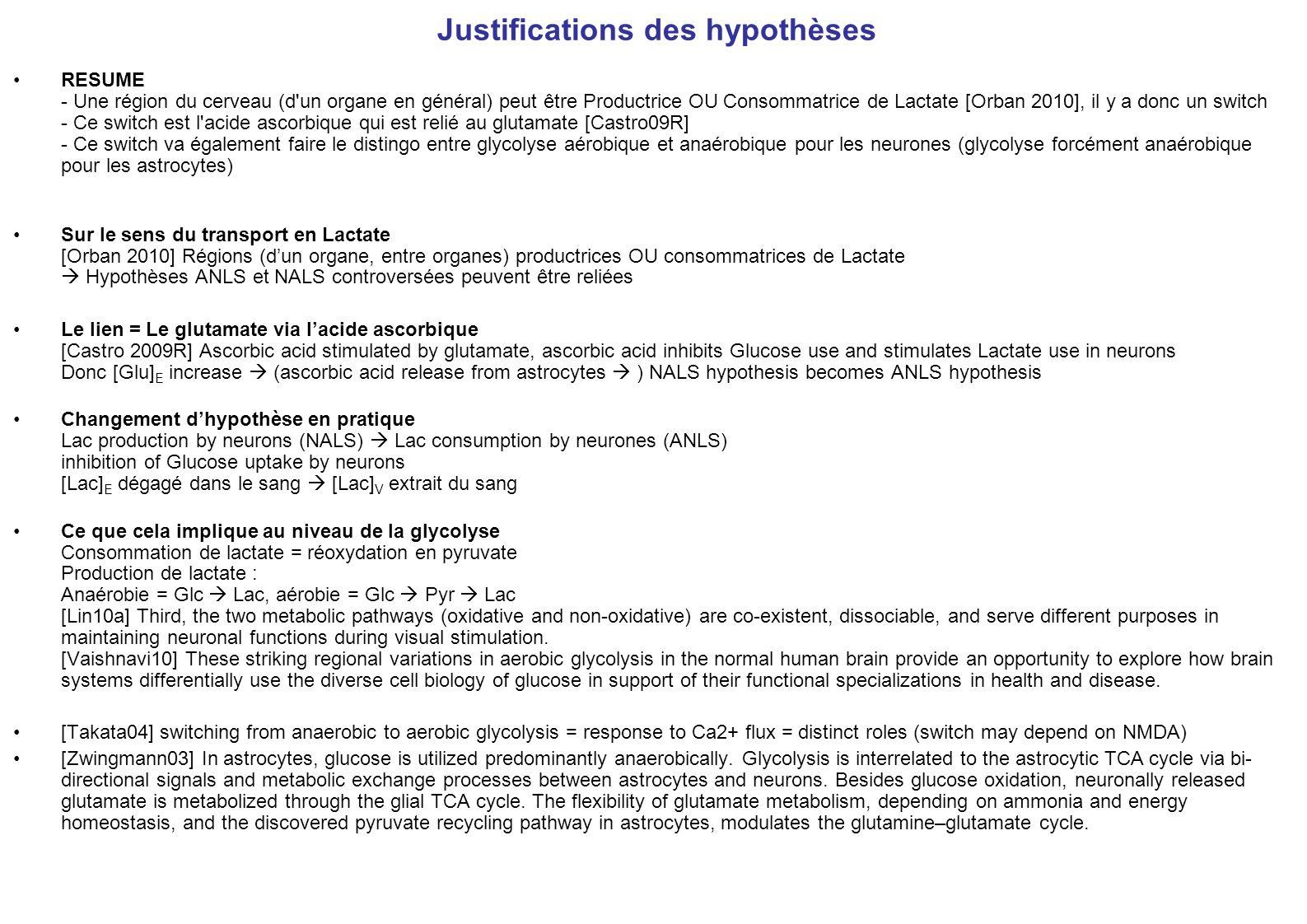 Justifications des hypothèses RESUME - Une région du cerveau (d'un organe en général) peut être Productrice OU Consommatrice de Lactate [Orban 2010],