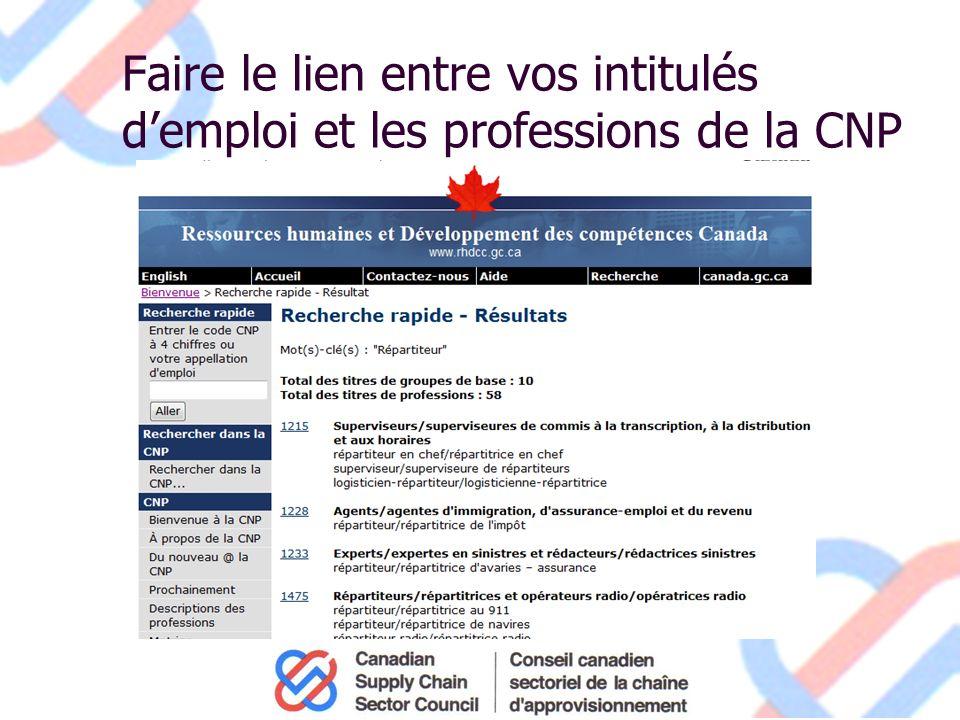 Faire le lien entre vos intitulés demploi et les professions de la CNP