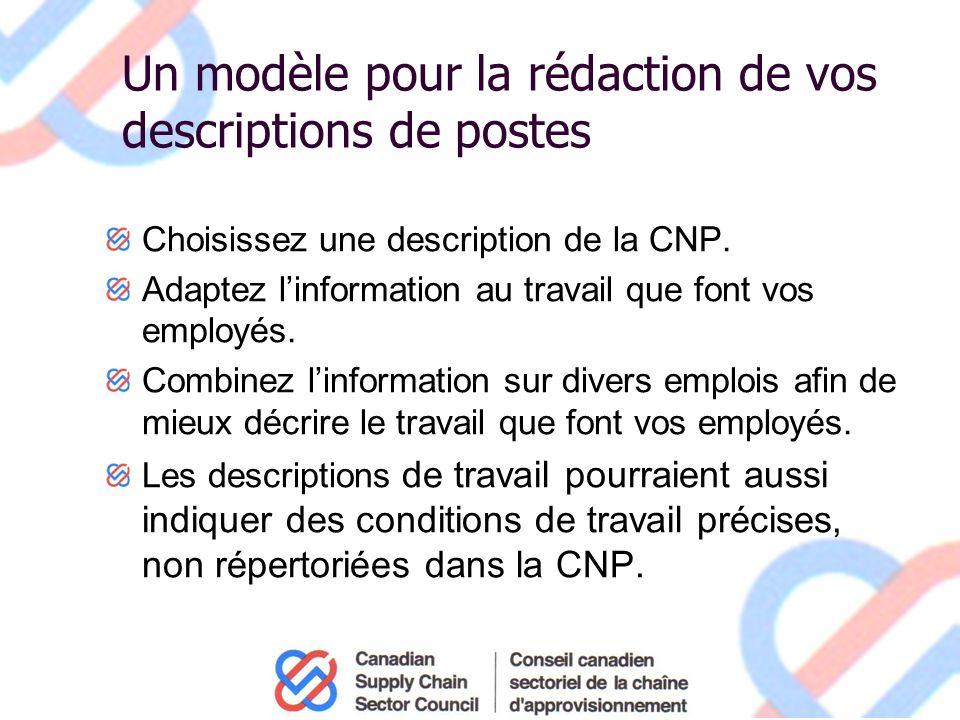 Un modèle pour la rédaction de vos descriptions de postes Choisissez une description de la CNP.