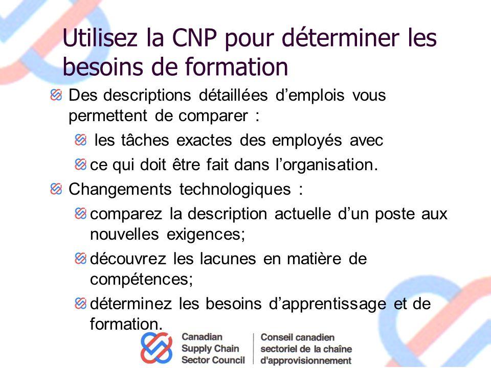 Utilisez la CNP pour déterminer les besoins de formation Des descriptions détaillées demplois vous permettent de comparer : les tâches exactes des employés avec ce qui doit être fait dans lorganisation.