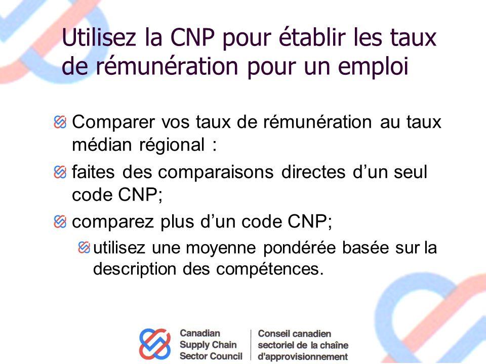 Utilisez la CNP pour établir les taux de rémunération pour un emploi Comparer vos taux de rémunération au taux médian régional : faites des comparaisons directes dun seul code CNP; comparez plus dun code CNP; utilisez une moyenne pondérée basée sur la description des compétences.