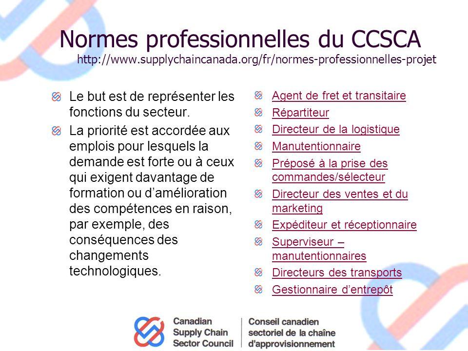 Normes professionnelles du CCSCA http://www.supplychaincanada.org/fr/normes-professionnelles-projet Le but est de représenter les fonctions du secteur.