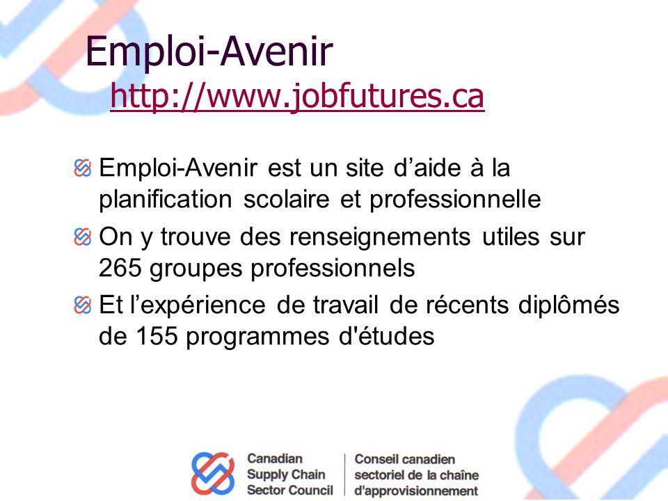 Emploi-Avenir http://www.jobfutures.ca http://www.jobfutures.ca Emploi-Avenir est un site daide à la planification scolaire et professionnelle On y trouve des renseignements utiles sur 265 groupes professionnels Et lexpérience de travail de récents diplômés de 155 programmes d études