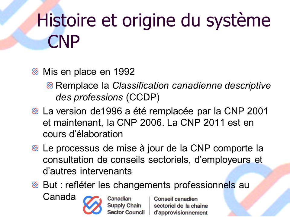 Histoire et origine du système CNP Mis en place en 1992 Remplace la Classification canadienne descriptive des professions (CCDP) La version de1996 a été remplacée par la CNP 2001 et maintenant, la CNP 2006.