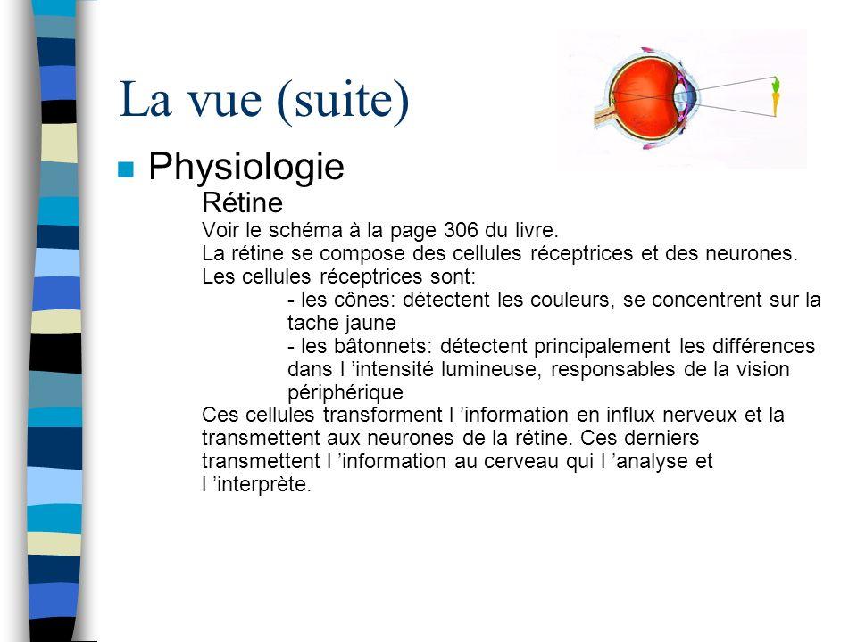 La vue (suite) n Physiologie Rétine Voir le schéma à la page 306 du livre. La rétine se compose des cellules réceptrices et des neurones. Les cellules