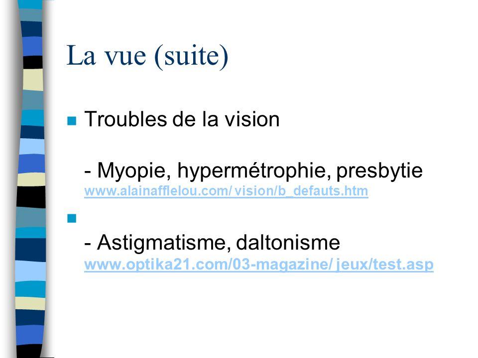 La vue (suite) n Troubles de la vision - Myopie, hypermétrophie, presbytie www.alainafflelou.com/ vision/b_defauts.htm www.alainafflelou.com/ vision/b