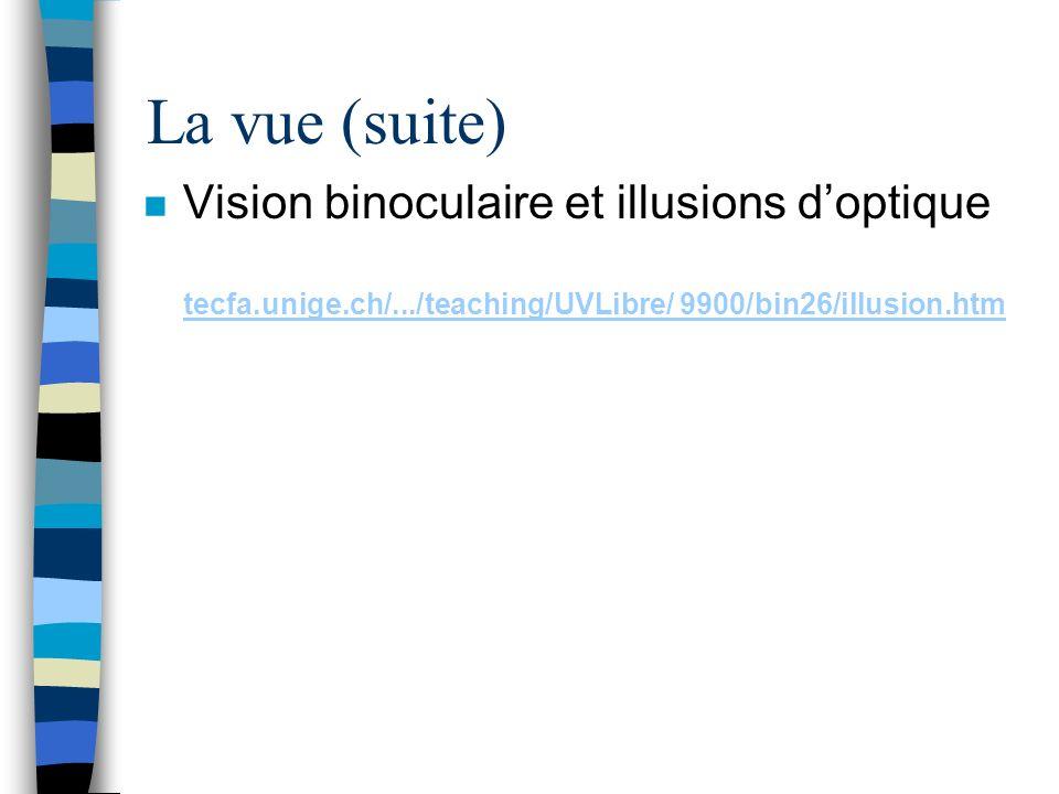 La vue (suite) n Vision binoculaire et illusions doptique tecfa.unige.ch/.../teaching/UVLibre/ 9900/bin26/illusion.htm tecfa.unige.ch/.../teaching/UVL