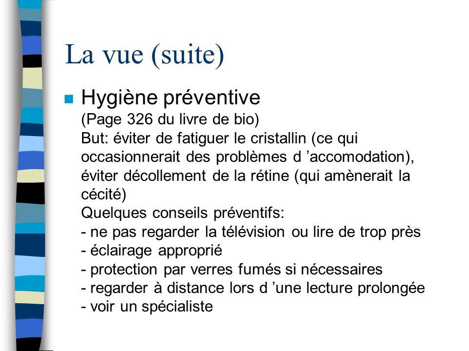 La vue (suite) n Hygiène préventive (Page 326 du livre de bio) But: éviter de fatiguer le cristallin (ce qui occasionnerait des problèmes d accomodati