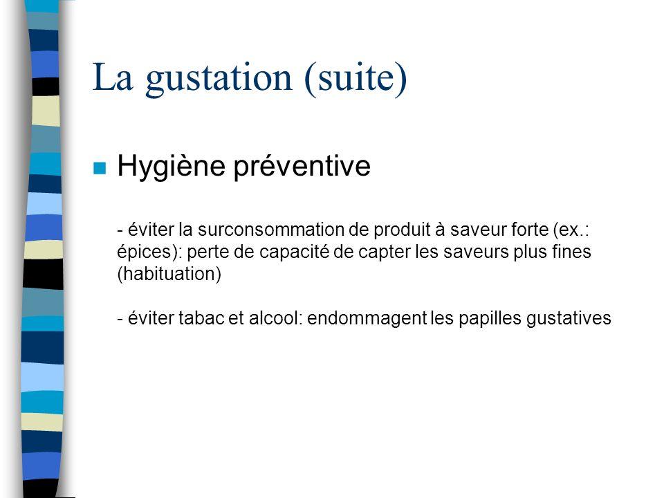 La gustation (suite) n Hygiène préventive - éviter la surconsommation de produit à saveur forte (ex.: épices): perte de capacité de capter les saveurs