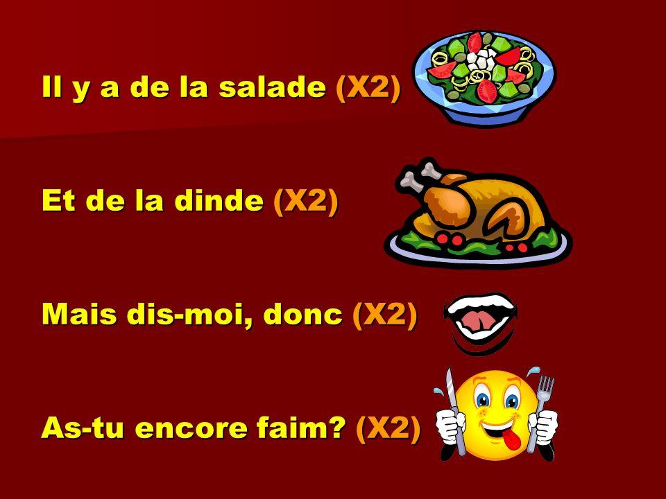 Il y a de la salade (X2) Et de la dinde (X2) Mais dis-moi, donc (X2) As-tu encore faim? (X2)