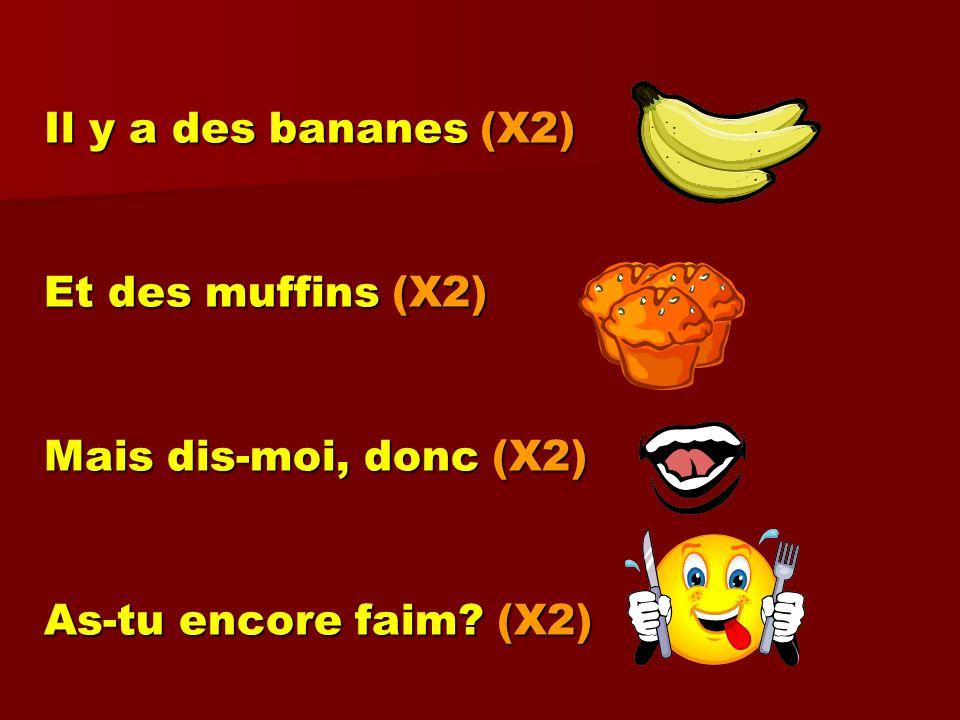 Il y a des bananes (X2) Et des muffins (X2) Mais dis-moi, donc (X2) As-tu encore faim? (X2)