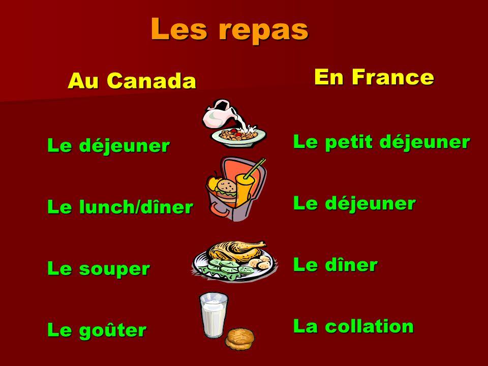 Les repas En France En France Le petit déjeuner Le petit déjeuner Le déjeuner Le déjeuner Le dîner Le dîner La collation La collation Au Canada Au Can