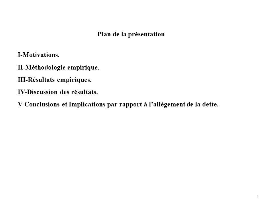 Plan de la présentation I-Motivations. II-Méthodologie empirique. III-Résultats empiriques. IV-Discussion des résultats. V-Conclusions et Implications