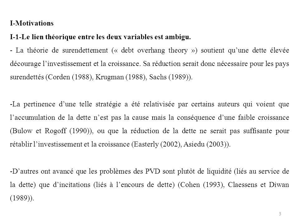 I-Motivations I-1-Le lien théorique entre les deux variables est ambigu. - La théorie de surendettement (« debt overhang theory ») soutient quune dett
