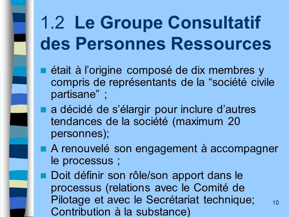 10 1.2 Le Groupe Consultatif des Personnes Ressources était à lorigine composé de dix membres y compris de représentants de la société civile partisan